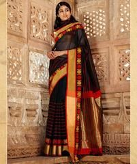 Black Color Blended Cotton Casual Party Sarees : Karunya Collection  YF-43392