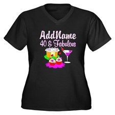 40TH PARTY GIRL Women's Plus Size V-Neck Dark T-Sh Dazzle in our personalized 40th birthday dark Tees and Apparel. http://www.cafepress.com/jlporiginals/6515966  #40thbirthday #40yearsold #Happy40thbirthday #40thbirthdaygift #40thbirthdayidea #happy40th #personalized40th