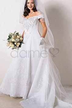 A Linie Satin Reißverschluss kurze Ärmel schulterfreies bodenlanges Brautkleid mit Schleier