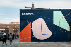 Roomrs Identity on Behance Visual Identity, Brand Identity, Hoarding Design, Abstract Illustration, Mural Art, Murals, Environmental Graphics, 3d Artist, Street Art