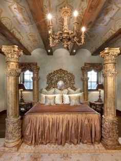 Home Decor — Opulent Old World Bedroom With Marble Columns and. Dream Bedroom, Home Bedroom, Bedroom Furniture, Bedroom Decor, Bedroom Ideas, Royal Bedroom, Bedroom Designs, Master Bedrooms, Fancy Bedroom