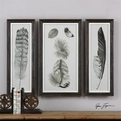 Wall Art - Feather Tryptic Artwork