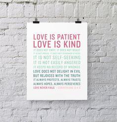 1 Corinthians 13:4-8 - Scripture Print - Love is Patient, Love is Kind