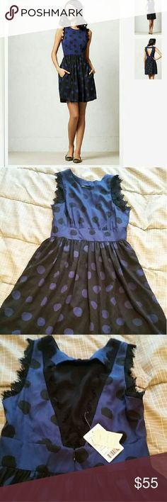Corey lynn calter split dots dress 2 nwt navy Gorgeous silky material, open back with eyelash lace trim, very versatile dress for many ocasions, size 2 Anthropologie Dresses