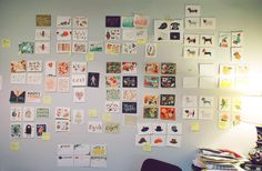 Anna Bond of Rifle Paper - snapshot of office wall during stationery show planning & designing