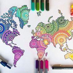 Colorful world map - mandalas art in 2019 art, sharpie drawings, art sketch Doodle Art Drawing, Mandala Drawing, Mandala Tattoo Design, Art Drawings Sketches, Cute Drawings, Simple Drawings, Drawing Drawing, Colorful Drawings, Pencil Drawings