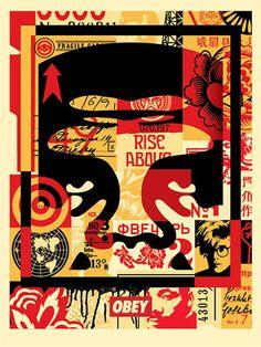 Géant Visage Collage (UP) Offset Imprimer Shepard Fairey sur «papier moucheté de crème ton« lourd Fairey est un artiste américain contemporain street art, graphiste, activiste et fondateur de ... OBEY (vêtements). Les trois œuvres se composent d'un collage des travaux antérieurs avec oaBowie, Warhol, ML KIng ... chacun avec l'icône '' est maintenant devenu l'image de la «Giant ' État: Neuf Signé (à droite) par Shepard Fairey Dimensions: 60x46 cm / 18x24 pouces Est envoyé dans le tube de…