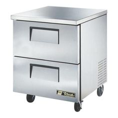 """Undercounter Freezer, -10° F, stainless steel top & sides, white aluminum interior with stainless steel floor, (2) drawers each, accom. 12""""x20""""x6"""" pan (NOT included), 5"""" castors, front breathing, 1/3 HP, 115v/60/"""