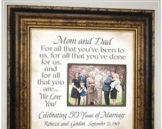Celebrating the Special Moments in Your LIfe by PhotoFrameOriginals - Anniversary Gift for Parents, For All That You Have Been To Us - Thank You Gift For Parents, Wedding Gifts For Parents, Wedding Thank You Gifts, Golden Anniversary Gifts, Anniversary Gifts For Parents, Personalized Anniversary Gifts, Wedding Picture Frames, Wedding Frames, New Grandparent Gifts