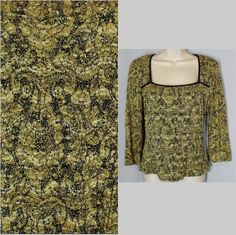 INC size L Large Gold & Black Nylon Stretch Top Shirt Squared Neckline