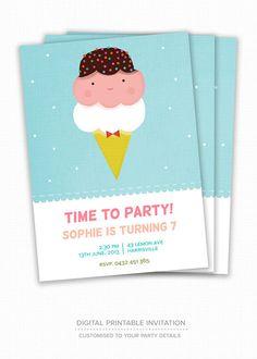 Kid's Birthday Invitation - Ice Cream Social - Children's Birthday Party Invitation, Ice Cream, Digital Printable Invitation