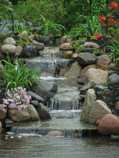 Image result for pond with waterfall