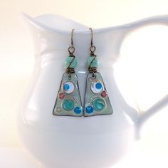 Funky Seafoam and White Pools of Color Earrings by CinLynnBoutique
