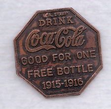 Coca Cola Token Good For One Free Bottle 1915 1916