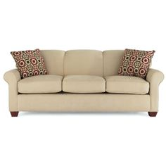 Like the simple lines and the stationary back cushions.  JCPenney The Sleepy sofa group offers clean-lined transitional styling in sleeper and stationary models. The smooth, tight backs and rolled arms invite you to relax.