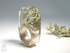 Lichen Abstract ring with an light by GeschmeideUnterTeck on Etsy, €79.00