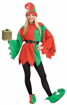 6b0ceb89cb0 Red and green Santa s Helper Elf costume comes with a tunic with drop  sleeves and a jingle bell collar and includes belt