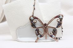 Butterfly mosaic pendant, butterfly jewelry, wire wraped butterfly, Valentines gift love pendant on Etsy, $70.00