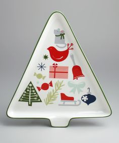 White Happy Holidays Tree Platter #zulily