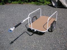 Basic bike trailer base + flatbed Dog Bike Trailer, Trailer Diy, Trailer Hitch, Bike Trailers, Bike Wagon, 4 Wheel Bicycle, Bike Cart, Dog Gadgets, Cargo Bike