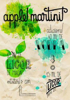 poster - Apple Martini Bar Drinks, Wine Drinks, Cocktail Drinks, Alcoholic Drinks, Beverages, Mojito, Martini, Vodka, Apple App