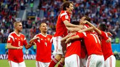 World Cup Russian team celebrating