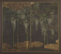 Wisteria on a Bamboo Trellis,     Kano Eitoku (1543-1590)  Sylvan Sounds: Freer, Dewing and Japan | Explore + Learn | Freer and Sackler Galleries
