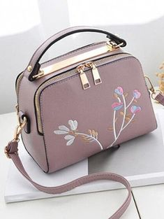 Floral Embroidery Chic Crossbody Bag with Handle Cheap Clothes Online, Online Clothing Stores, Versace Handbags, Purses And Handbags, Leather Crossbody Bag, Pu Leather, Crossbody Bags, Floral Embroidery, Fashion Bags