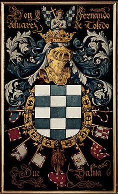 Coat of arms of Fernando Álvarez de Toledo, Duke of Alba, Knight of the Golden Fleece Chivalry, Knights Templar, Family Crest, Ex Libris, Crests, Illuminated Manuscript, Coat Of Arms, Badge, Royalty