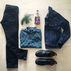 HOLIDAY PARTY KIT: Freenote Black Avila Denim, Aqua Western Oxford & Classic Denim Jacket, @thefryecompany boots and some @pussersrum to spike the eggnog#freenotecloth #outfitgrid #ootd