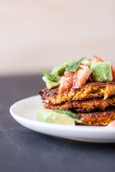 Easy (and Gorgeous!) Sweet Potato Fritters With Avocado Salsa #healthy #recipe #snack