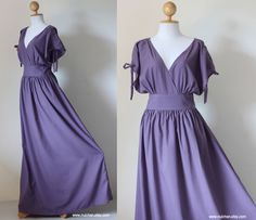 Reserved for Teri : Deep V-Shape Sleeveless or Short Sleeve Cotton Evening Dress Classy Gorgeous Collection. $57.00, via Etsy.