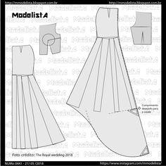 Post no 0441 the royal wedding 2018 Wedding Dress Patterns, Dress Making Patterns, Skirt Patterns Sewing, Sewing Patterns Free, Clothing Patterns, Mermaid Skirt Pattern, Gown Pattern, Costura Fashion, Modelista