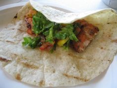 Salmon Fish Tacos with Mango Salsa... I make fantastic Fish Tacos with Tilapia... maybe it is time to change up my fish?!!