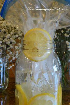 Lemon Vase - Working In the Lemons // DIY // Spring Decor // Party Decor // Summer // Easter Bridal Shower Table Decorations, Bridal Shower Tables, Unique Bridal Shower, Lemon Vase, Lemon Centerpieces, Centerpiece Ideas, Lemon Flowers, Lemon Party, Flower Arrangements Simple