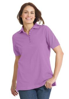 Woman Within Plus Size Top, Perfect Polo Short-Sleeve T-Shirt