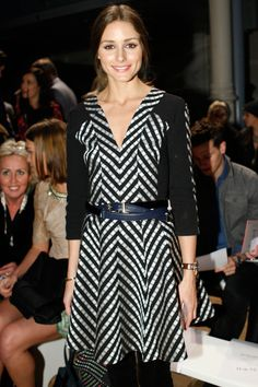 "Monochrome is eternally elegant, and Olivia Palermo looked just that in the Folk Stripe Dress's shades of chic. Styled with a looped belt, opaque tights and classic watch, Olivia had front row Fashion Week style down. ""I loved wearing this to Matthew's show. My style is classic, but I like to incorporate some trends to keep things modern and relevant– and I'm a huge fan of using accessories to pull my look together – just like this men's vintage belt."" - Olivia Palermo"