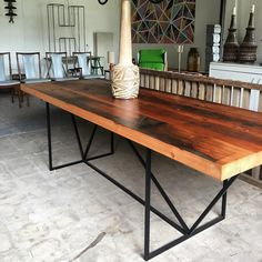 "We have this table in store at the moment! It's the""modernists"" frame in matte black with a 60mm antique Oregon top. Dimensions are 2400mm x 900mm wide. $3000 and it's yours . #design #designer #wood #timber #industrialfurniture #table #australiandesign #melbournedesign #melbourne #showroom #retro #vintage #supportlocal #melbournestyle #interiordesign #interiordecor"