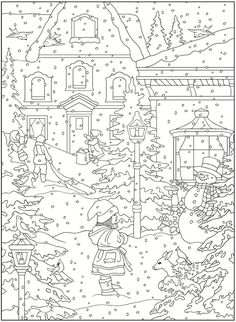 dover coloring book creative haven winter scapes - Google Search