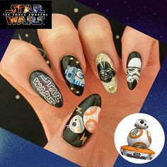 The Nail Force Awakens – Star Wars Inspired Nail Art Acrylic Nail Art, 3d Nail Art, Get Nails, How To Do Nails, Star Wars Nails, Manicure Y Pedicure, Disney Nails, Nailart, Makeup Geek