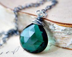 Emerald Green Necklace Sterling Silver Hydroquartz by PoleStar