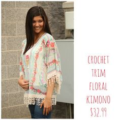 A huge trend...kimonos baby!! #fashion #shop #newarrivals #floral #fringe #kimono #summer #style #ootd #shopbellame