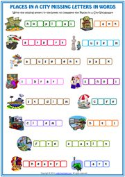places in a city vocabulary missing letters in words esl worksheet icon. Vocabulary Worksheets, Worksheets For Kids, Printable Worksheets, Printables, English Activities, Activities For Kids, Learning Resources, Teaching Ideas, Places In The Community