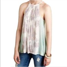 """Deletta Anthro Sz M Mint Sorin Halter Tank NWT Deletta Anthro Sz M Mint Sorin Halter Tank NWTDeletta from Anthropologie Sorin Halter Tank  Size: M Rayon and silk blend  New with tags!  Originally $78.00 Color: White, pink, light green-blue  Bust - 32-36"""" lying flat (loose & flowy)Length - 26.5"""" from shoulder to hem. Tie neckline Anthropologie Tops Blouses"""