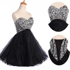 Beaded Cocktailkle Abschlussball Ball Brautjungfer kurz Mini Abiball Brautkleid