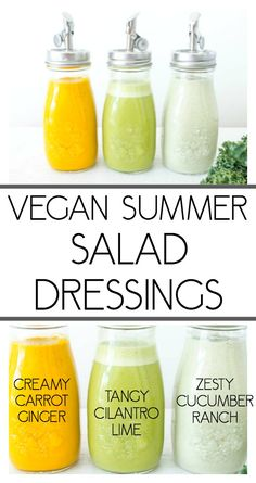 Vegan Summer Salad Dressing Recipes. Creamy Carrot Ginger Dressing, Tangy Cilantro Lime and Zesty Cucumber Ranch #vegan #saladdressing #dairyfreedressing #summerdressings #summersaladdressing
