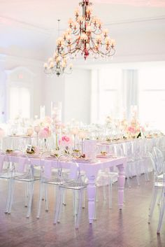 Ghost Chairs - versatile, elegant and contemporary. Photo Source: style me pretty. #weddingchairs #ghostchairs.  #weddingseating