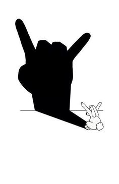 Rabbit Rock and Roll Hand Shadow Art Print by mobii Heavy Metal, Black Metal, Hard Rock, Rock N Roll, Hand Shadows, Metal Horns, Shadow Art, Metal Bands, Rock Music