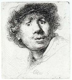 Rembrandt van Rijn (1606-1669),  Zelfportret met verbaasde blik, 1630, ets..