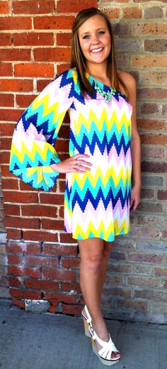 Lightning Crashes Dress: A Black and White One Shoulder Chevron ...